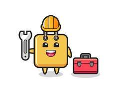 Mascot cartoon of shopping bag as a mechanic vector