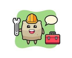Mascot cartoon of sack as a mechanic vector