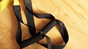 Closeup view of suspension training at home photo