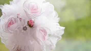 Wedding bouquet made of white roses photo