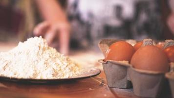 Ingredients for baking homemade bread. Eggs photo