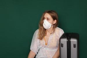 Beautiful girl with Medical mask on the face. photo