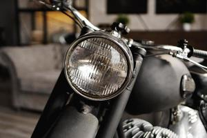 Motorcycle close-up in room. Photo from the studio