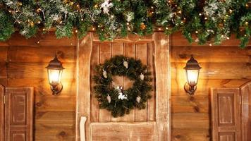 Front door decorated for the holidays photo