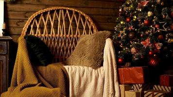 Christmas living room interior with armchair and xmas tree photo