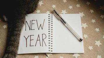 cuaderno con bolígrafo para escribir metas de año nuevo - con gato foto