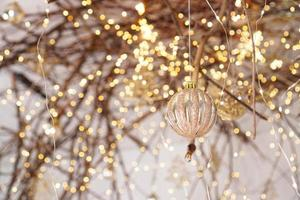 Background with Christmas lights and ball photo