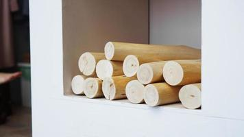 New fireplace with wooden logs - white Scandinavian classic room photo