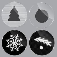 Glass Christmas button vector illustration