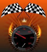 Checkered flag, speedometer. Vector Illustration.