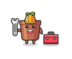 Mascot cartoon of plant pot as a mechanic vector