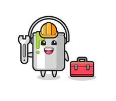 Mascot cartoon of paint tin as a mechanic vector