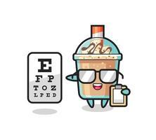 Illustration of milkshake mascot as an ophthalmology vector