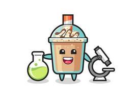 Mascot character of milkshake as a scientist vector