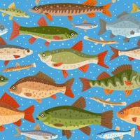 Seamless freshwater fish pattern. A vector seafood