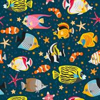 A seamless pattern with exotic tropical fishes vector