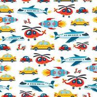 A Childish bright cartoon transport vector pattern