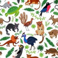 Wild Oceania animals flat style seamless pattern vector