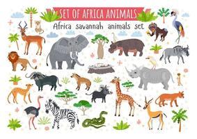 Conjunto de animales de la sabana africana. animales salvajes del trópico vector