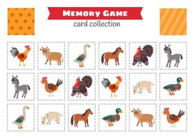 juego de memoria con animales de granja de dibujos animados. vector
