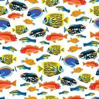 A Childish bright cartoon tropic fish pattern vector