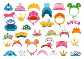 Bright headwear icon set. Stylish kids hats. vector
