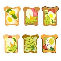 set sandwiches with egg, avocado and greens in a vector. vector