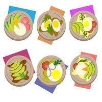 set breakfasts with egg, avocado and herbs in a plate with a napkin. vector