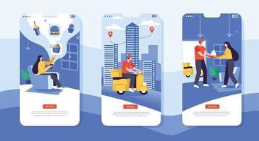 Food delivery mobile app design illustration concept vector