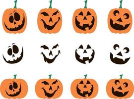 A set of pumpkins with faces for Halloween vector