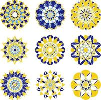 Azulejo circular ornament with bright colors vector