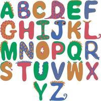 Dinosaur alphabet of different colors for children vector