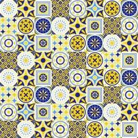 Azulejo seamless pattern with bright colors vector