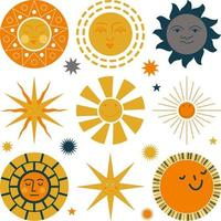 Set of suns with different faces vector