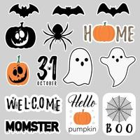 Halloween stickers with ghosts and spiders vector