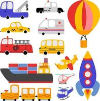 Children's clipart cars and vehicles vector