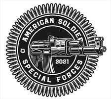 badge ak47 rifle vector