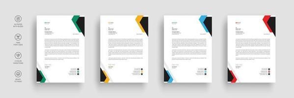 Business letterhead, Letterhead template with various colors vector