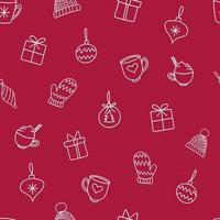Christmas Ornaments Seamless Repeat Vector Pattern