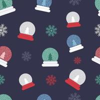 Christmas Snow globes and Snowflakes Seamless Repeat Vector Pattern