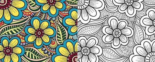 Doodle decorative floral colouring book page for adults vector
