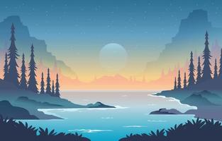 Scenery of Nature with River and Hills vector