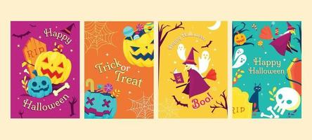 Pumpkin and Witch Celebrating Halloween Night vector