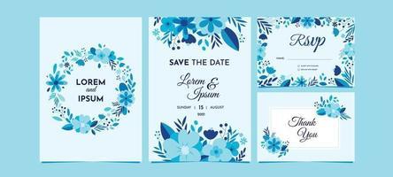 Blue Floral Wedding Invitation Set vector