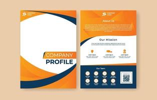 Company Profile Flyer Template in Orange and Dark Blue vector