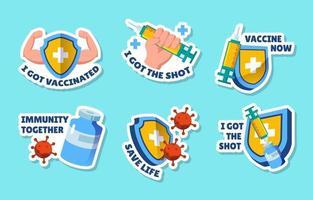conjunto de pegatinas de movimiento después de la vacuna vector