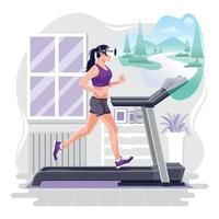 Running in Treadmill with VR Headset Concept vector