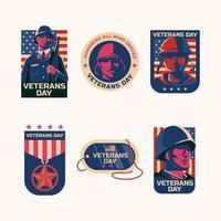 Set of Veterans Day Sticker vector
