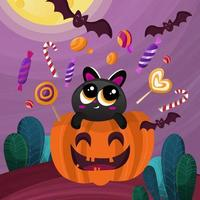 Trick or Treat Candy Cat vector