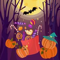 Trick or Treat Halloween with Candy Bag Background vector